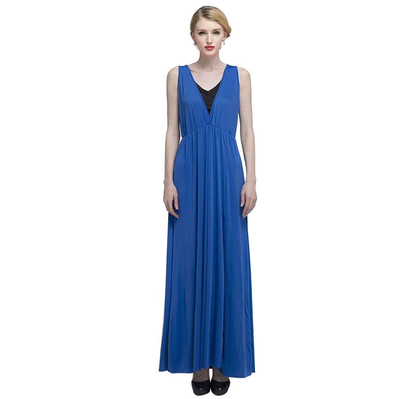Vakind® Sexy Frauen Milchseide Tief-V-Ausschnitt Ärmellos Schlitz Bodycon Maxi-Kleid Blau