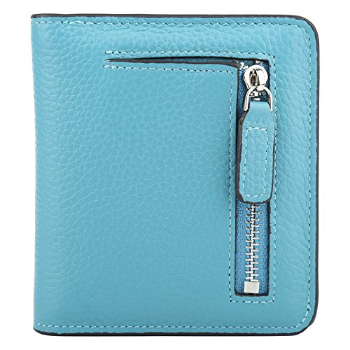 RFID Blocking Wallet Women's Small Compact Bifold Leather Purse Front Pocket Mini Wallet (Sky Blue)