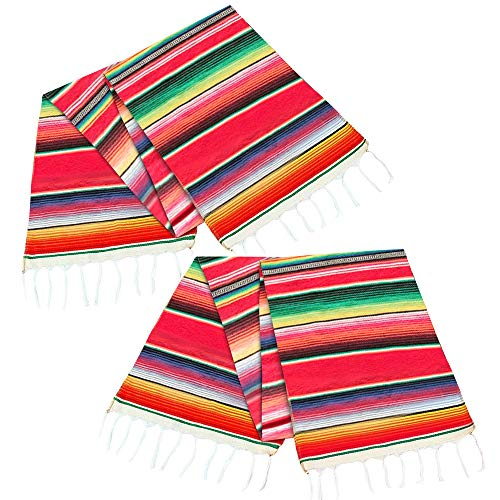 ALIWO Mexican Serape Table Runner Colorful Cotton Fringe Blanket for Mexican Party Outdoor Wedding Kitchen Decorations (Red 2Pcs) -