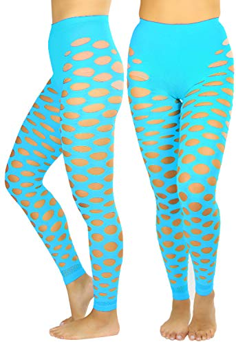 Blue Fishnet Tights (ToBeInStyle Women's Fishnet Slashed Leggings W/Footless Design)