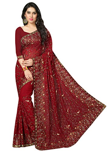 Women Bollywood Embroidered Sari Party Wear Saree With Unstitched Blouse