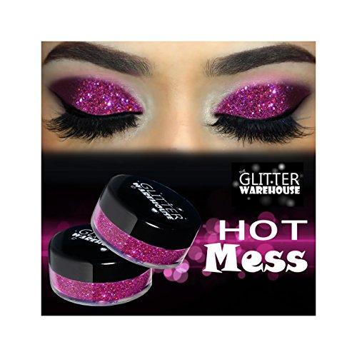 GlitterWarehouse Hot Mess Pink Holographic Loose Glitter Powder for Eyeshadow, Makeup, Nail Art, Body Tattoo by GlitterWarehouse