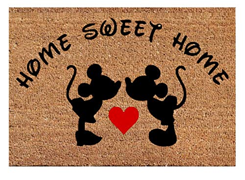 (Mickey Mouse Kissing Heart Disney Home Sweet Home Door Mat Best Easy Clean Doormat New House - Wedding Valentine Birthday Gift)