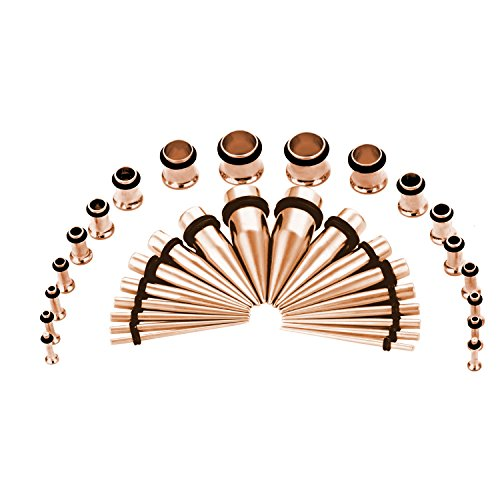 CABBE KALLO 36PCS Ear Gauge Stretching Kit Stainless Steel Tapers and Plugs Set Eyelet 14G-00G (Rose Goldtone) ()