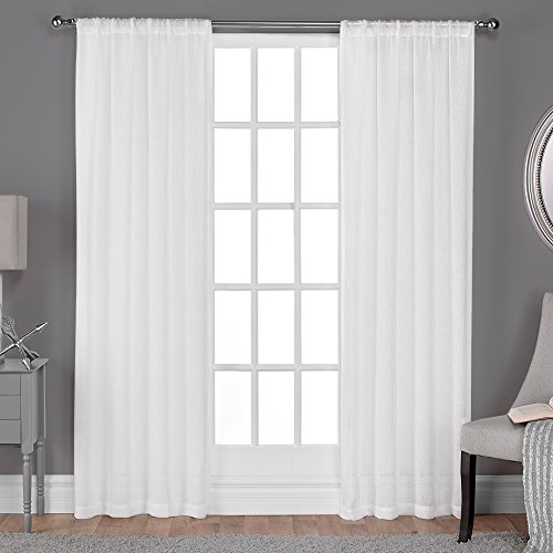 Exclusive Home Belgian Textured Linen Look Jacquard Sheer Window Curtain Panel Pair with Rod Pocket, Winter White, 50x84 (Sheer Silk Linen)
