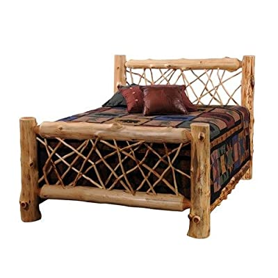 Fireside Lodge Hand Crafted Lacquered Vintage Cedar Twig Log Bed With Notched Side Rails and T-Support, California King