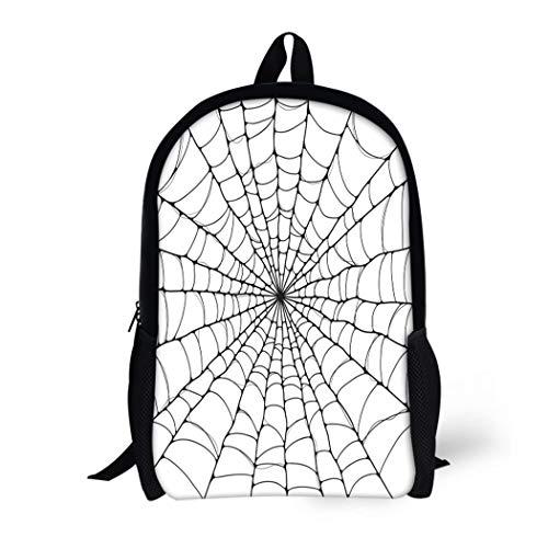 Pinbeam Backpack Travel Daypack Halloween Spider Cartoon Black White Celebration Hanging Netting Waterproof School Bag ()