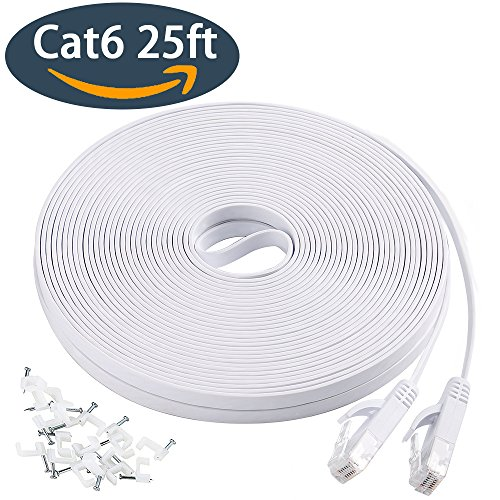 Flat Ethernet Cable, Cat6 Network Cable 25 ft, Slim Ethernet Cord with Clips, Short Computer Ethernet Cable for Lan Wire Network Adapter, Switch, Modem, Mac, Laptop Macbook pro/Air, PS4 in White