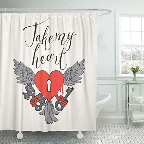 Emvency Decorative Shower Curtain Valentines Day with Lock in The Shape of Heart Wings Key and Open Handcuffs 72