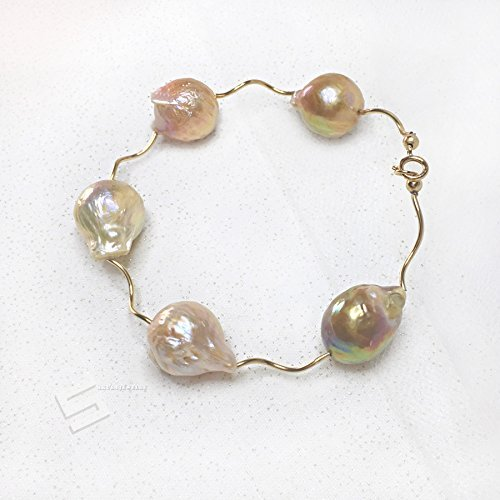 Kasumi Like Pearls & Gold Filled Bangle Bracelet, 15-20MM Natural Metallic Mixed-color Baroque Pearl In 14K Gold Filled Accent Statement ()