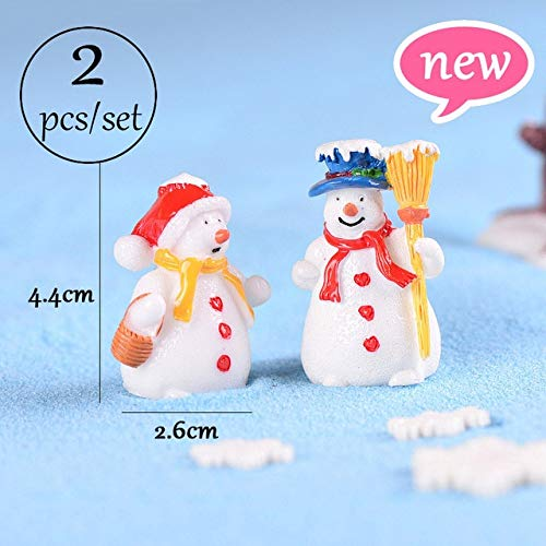ZAMTAC Miniature Christmas Tree Santa Claus Snowmen Gift Box Terrarium Accessories Fairy Garden Figurines Doll House Decor - (Color: Couple 3)