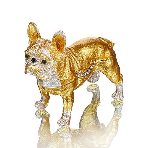 YU FENG Gold Bulldog Trinket Box Enameled Pewter Bejeweled Gift for Dog Lover Keepsake Ornament