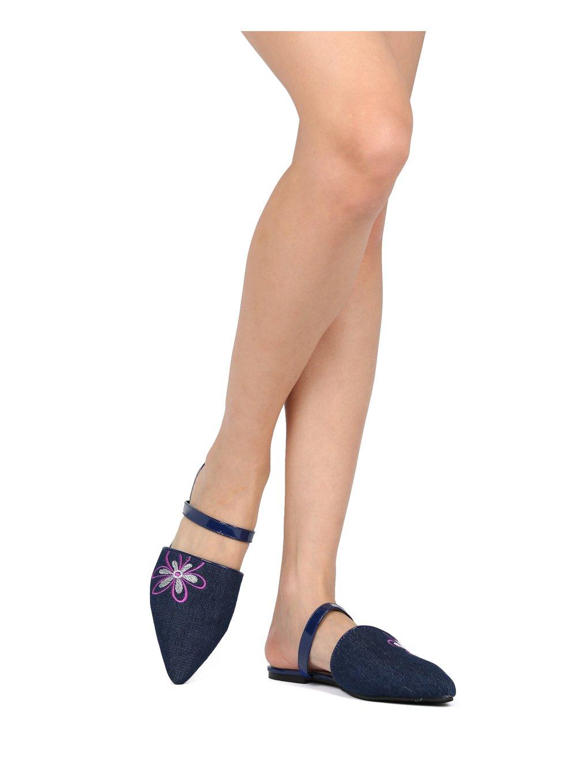 Women Pointy Toe Single Flower Instep Strap Flat Mule HG66 - Denim (Size: 7.0)
