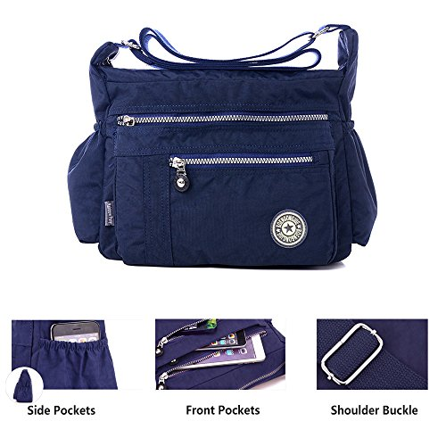 Nylon Waterproof Cross Handbag Leisure Casual Handbag Navy Shoulder Body Messenger Bags Bags Multi Pocket Tote Women Purse 5S1qE
