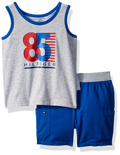 (Tommy Hilfiger Baby Boys 2 Pieces Tank Shorts Set, Gray/Blue, 24M)