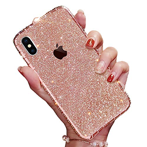 iPhone 6s Plus Sparkly Skin Decal, Bling Glitter Precise Skin Sticker with iPhone 6 Plus Metal Frame Rhinestones Bumper Case Full Body Coverage Wrap Cover for Girls Women (Rose Gold, iPhone 6s Plus) (6 Plus Iphone Skin Glitter)