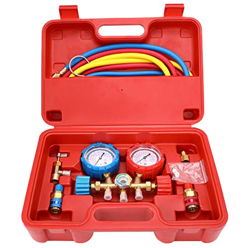 Mofeez Pro AC A/C Diagnostic Manifold Freon Gauge Set For R134A R12 R22 Refrigerants, with Couplers and ACME Adapter