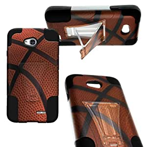 CoverON® Kickstand Hard + Soft Dual Layer Hybrid Case for LG Optimus L70 D325 - Basketball Design Hard Plastic + Black Soft Silicone