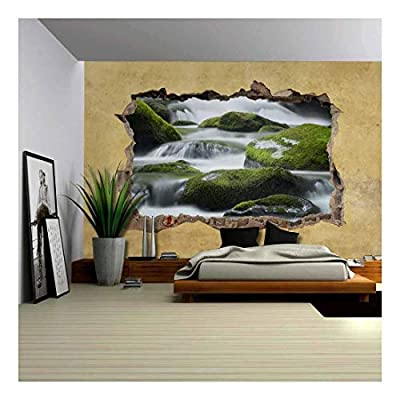 Gorgeous Composition, Created By a Professional Artist, Cascading Spring in Tropical Forest Viewed Through a Broken Wall Large Wall Mural Removable Peel and Stick Wallpaper