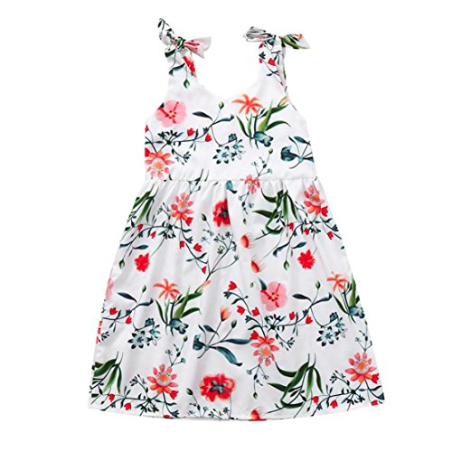 DORIC Baby Girls Floral Sleeveless Straps Family Matching Dress Clothes