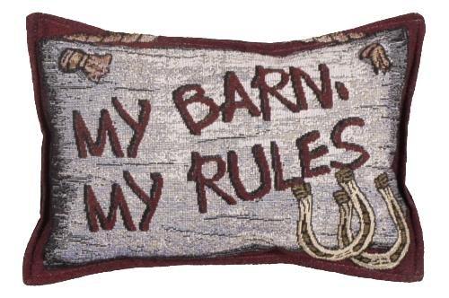 My Barn My Rules Tapestry Toss Pillow USA Made SKU: P80-BARN
