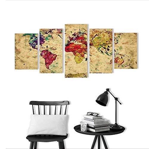 bination of Decorative Frameless Vintage World map Highres Superb Quality for Living Room, Bedroom,Hotel and so on ()