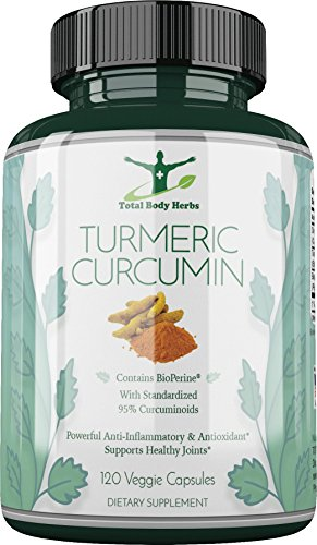 Organic Turmeric Curcumin with BioPerine Black Pepper Extract – 120 Veg. Capsules – Standardized to 95 Curcuminoids for Superior Absorption, Bio-availability, Max. Potency. No Fillers