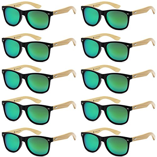 WHOLESALE BAMBOO ECO FRIENDLY MODERN RETRO 80'S CLASSIC SUNGLASSES - 10 PACK (Matte Black | Kryptonite Green, ()