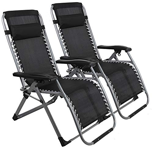 LUCKYERMORE Folding Zero Gravity Chair 2 Pack- Heavy Duty Steel Frame and Breathable Fabric, Adjustable Reclining Lawn Lounge Chairs for Patio, Beach and Pool, 330 Lbs Capacity