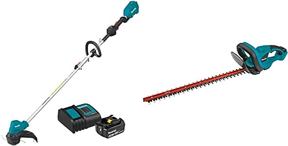 Makita XRU12SM1 18-Volt LXT Lithium-Ion Brushless Cordless String Trimmer Kit, 4.0Ah with XHU02Z 18V LXT Lithium-Ion Cordless 22 in. Hedge Trimmer