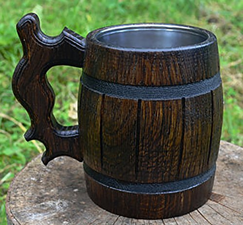 Handmade Beer Mug Made of Wood Tankard Wooden Stein Beer Tankard Stein Crafted Beer Mug Cup Capacity: 20.28oz (600ml) by Etno Motif (Image #5)