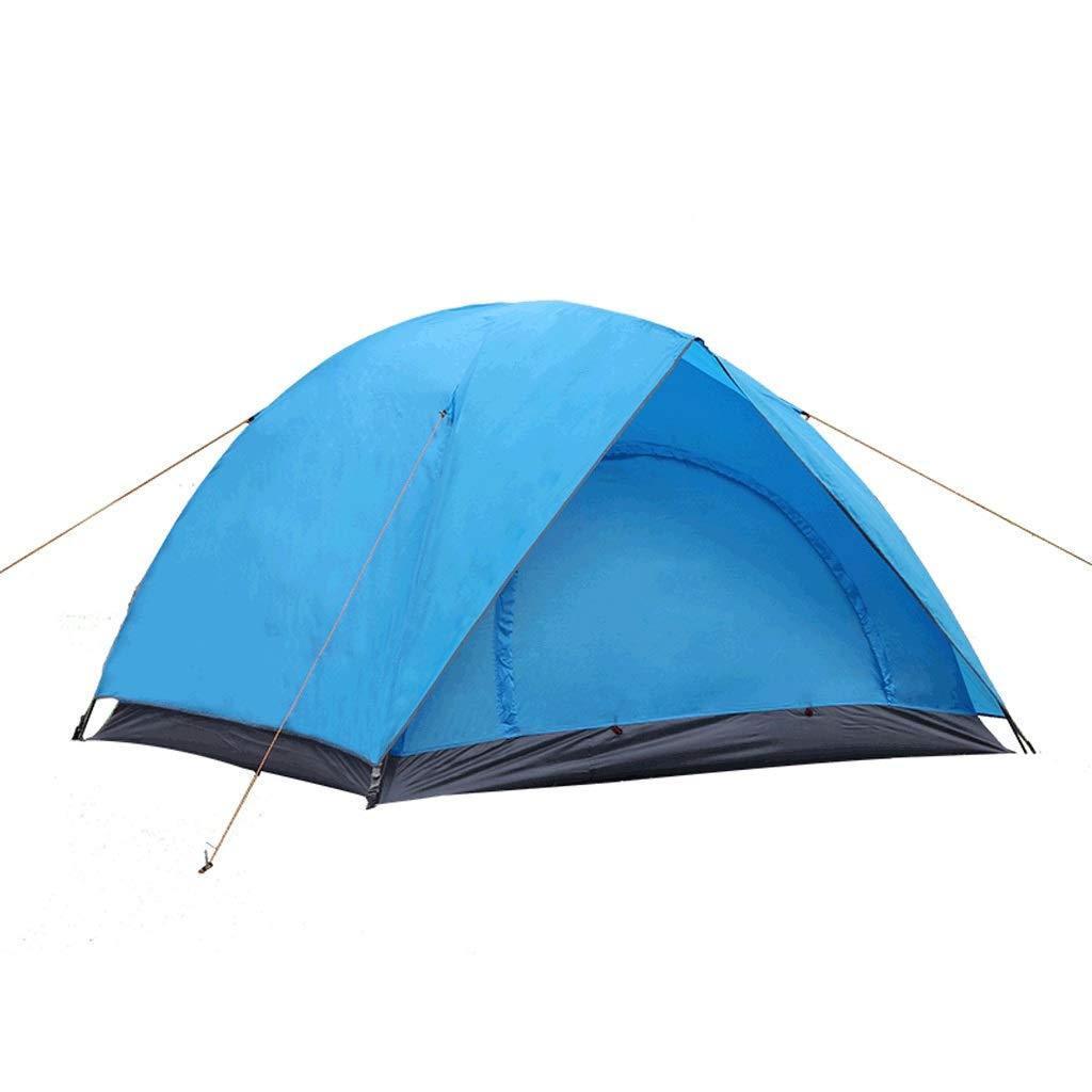 Zelt LCSHAN Regenfestes Mehrpersonen-Doppel 3-4 Personen Campingzubehör UV-Schutz (Farbe   Blau)