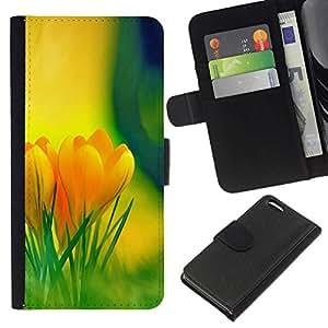 NEECELL GIFT forCITY // Billetera de cuero Caso Cubierta de protección Carcasa / Leather Wallet Case for Apple Iphone 5C // Flores amarillas