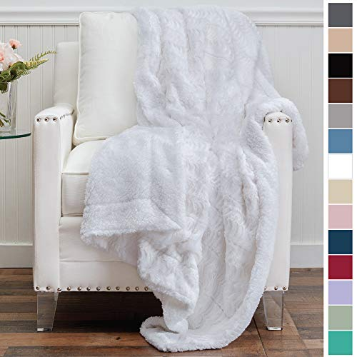 The Connecticut Home Company Luxury Faux Fur with Sherpa Reversible Kids Throw Blanket, Super Soft, Large Wrinkle Resistant Blankets, Warm Hypoallergenic Washable Couch or Bed Throws, 65x50, White (White Blankets)