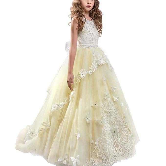 IWEMEK Appliques Vestido de Primera Comunión Princesa Vestido de Niña de Flores Vestidos de Dama De Honor de Cordón Tul Boda Sin Mangas Cumpleaños ...