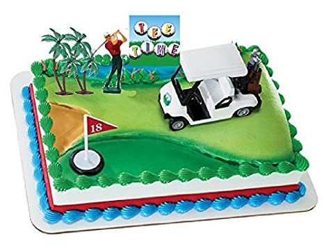 Amazon Golf Cart Golfer Tee Time Sign Deluxe Cake Topper Decoration Kit