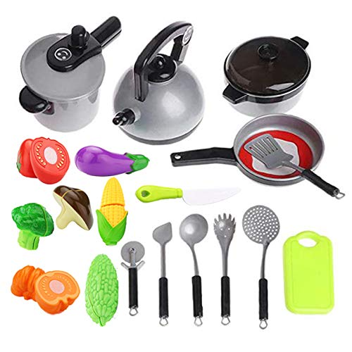 Life-Tandy Pretend Play Kitchen Cooking Set Pretend Play Toys Many Optional Role-Playing Toddlers Boys Girls for 19PCS (Silver)