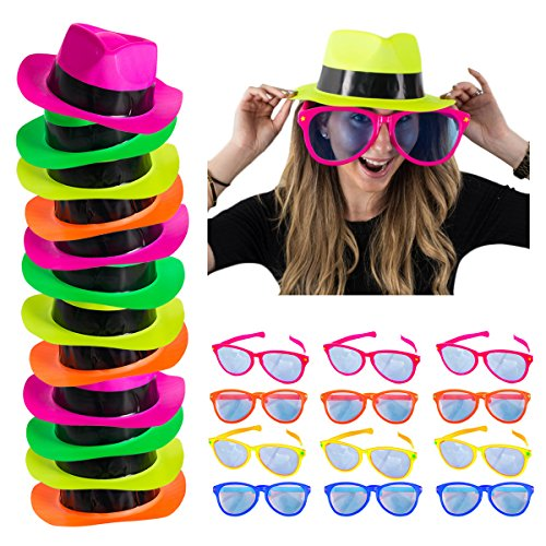 Neon Party Supplies - 24 Pc, 80's Style Party, Ganster Fedora Neon Party Hats & Jumbo Sunglasses – Party Dress Up by Funny Party (90s Theme Party)