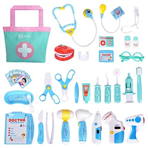 NextX Doctor Kit, 35 Pieces Pretend Play Toys Kids Electronic Stethoscope Dentist Medical Kit Gifts Boy & Girl Educational Learing Roleplay, Blue -