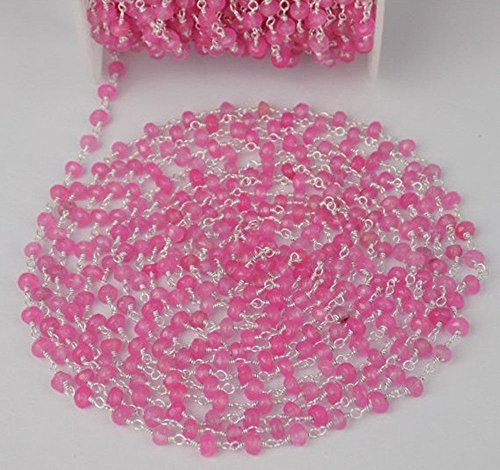 Freshwater Pink Wire Pearls (10 Feet Pink Chalcedony 3.5-4mm 925 Sterling Silver Plated Faceted Rosary Chain,Wire Rosary Chain Wire Wrapped Beads, Rosary, Rosary Beads, Rosary Chains, Beaded Rosary, Rosary)