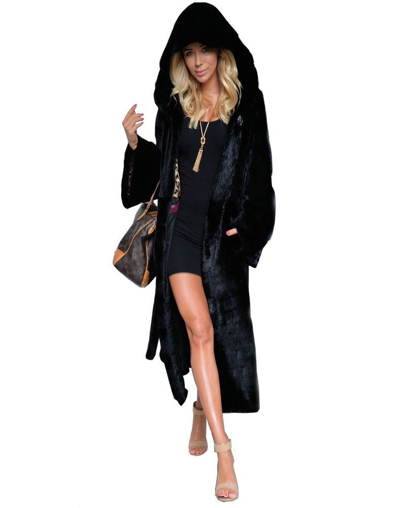 Aofur Women's Warm Winter Faux Fur Hooded Parka Long Coat Jacket Top Outwear New Fashion Thick Parka Overcoat by Aofur (Image #5)