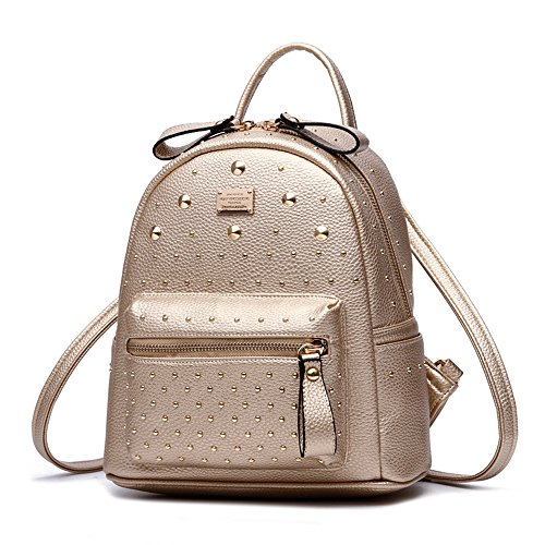 RFVBNM Mochila de las mujeres mochila de moda bolsas de alta calidad del remache Mini bolso de hombro femenino mochila de cuero de la PU mochilas para niñas mejor regalo para niñas, negro Oro