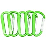 2.25'' Green Color D Shape Spring-loaded Aluminum Carabiner Belt Clip Key Chain - pack of 100 pcs