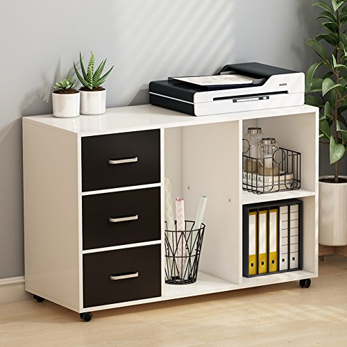 Tribesigns 3 Drawer Wood File Cabinets, Large Modern Lateral Mobile Filing Cabinets Printer Stand With Wheels, Open Storage Shelves For Home Office Study Bedroom (White & Black)