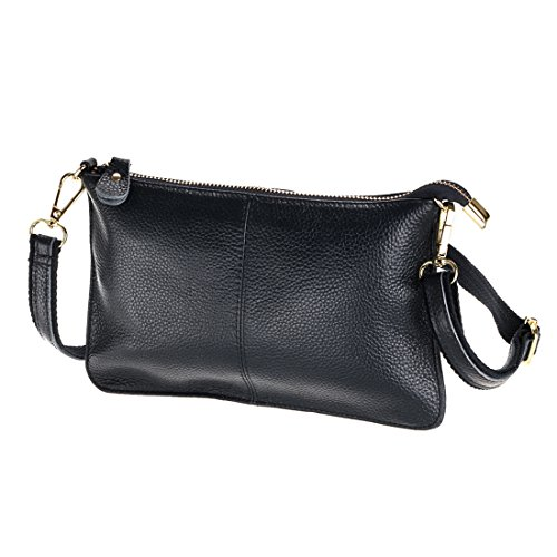 SEALINF Women's Cowhide Leather Clutch Handbag Small Shoulder Bag Purse (black) - Leather Tri Fold Handbag