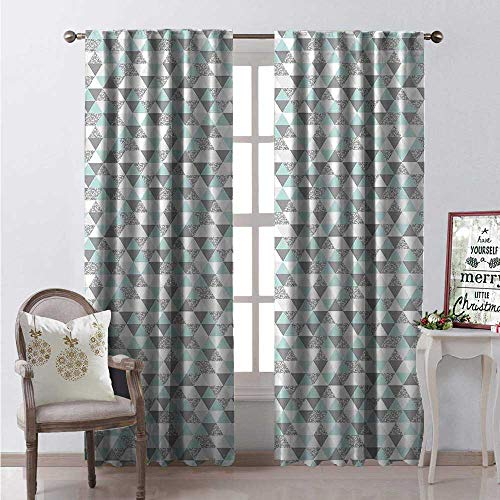 Price comparison product image Hengshu Grey and Mint Waterproof Window Curtain Pastel Colored Triangles Forming a Modern Grid Pattern Decorative Curtains for Living Room W108 x L108 Pale Grey Mint Green and White