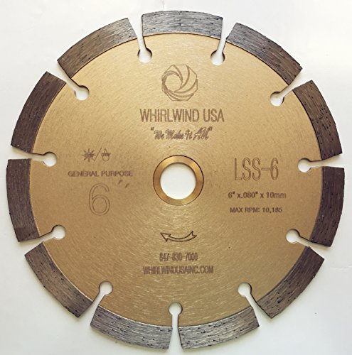 Whirlwind USA LSS 6-Inch Dry or Wet Cutting General Purpose Power Saw Segmented Diamond Blades for Concrete Stone Brick Masonry (Factory Direct Sale) (6″)