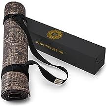 Natural Jute Yoga Mat Eco-Friendly Non-Toxic Reversible Organic Jute PER - Carry Stretching Strap – Anti-Slip Anti-Bacterial - Extra Long 72 Inch - 5mm Thick - All Types Yoga - Vegan