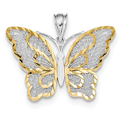 14k With White Rhodium Polished Filigree Butterfly Pendant
