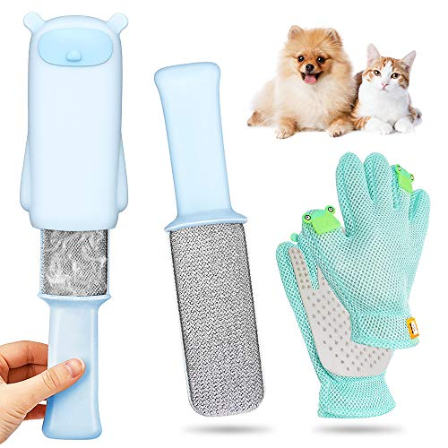 🥇 AYUQI Quitapelos para Mascotas y Cepillo para Guantes -con Removedor de pelo para Muebles